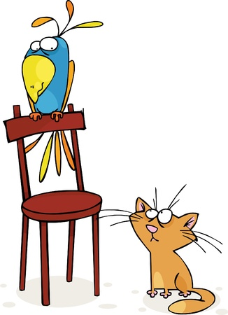 Cat and big parrot Stock Vector - 9361154