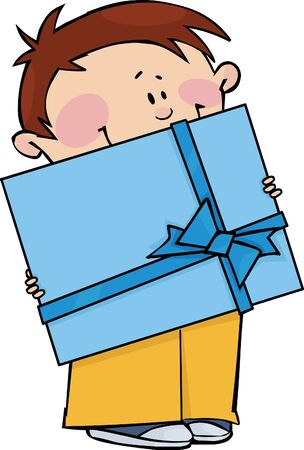 Boy with gift Vector