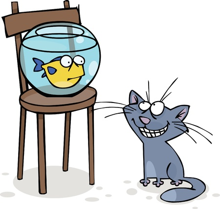 Cat and fish in the aquarium Ilustração