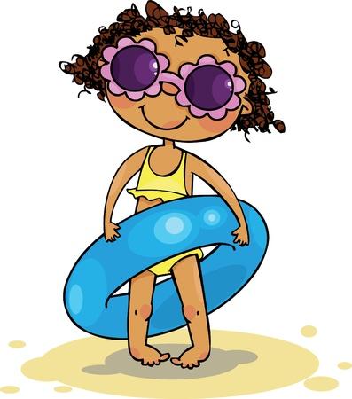 enfant maillot de bain: Anneau gonflable de holding Girl