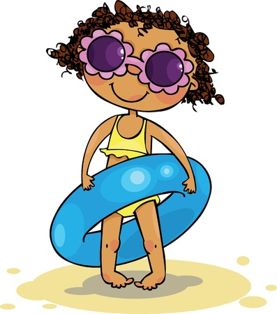 sunglasses cartoon: Girl holding inflatable ring