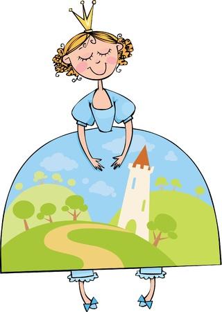Bella Princesa en un vestido azul con paisaje de cuento de hadas
