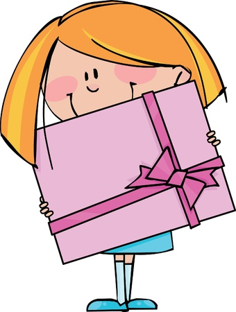 Girl with gift Vector