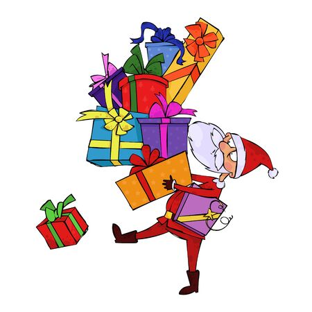 Santa Claus with a huge pile of gifts