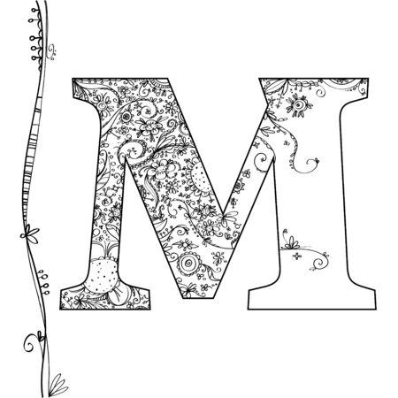 Vector alphabet with flower decoration Ilustracja
