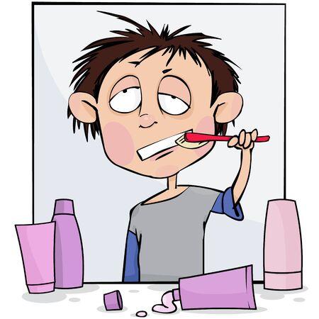 Sleepy boy brushes his teeth,vector illustration