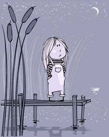 Tiny girl with moon, vector illustration