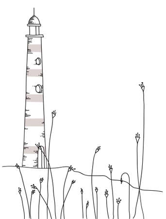 Black and white hand drawn lighthouse