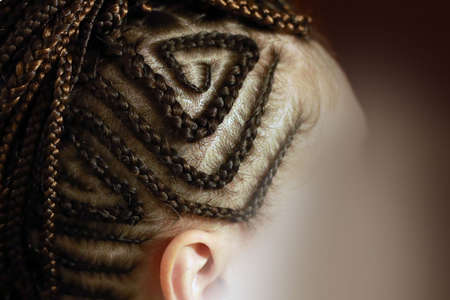 head of a girl with braided hair, small braids African-style on 免版税图像