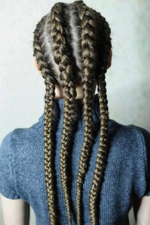 four braids natural shades in the tone of hair with kanekalon