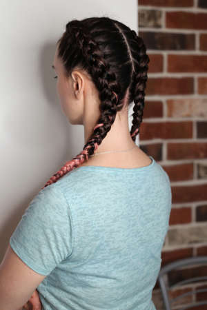 Girl with two braids natural color dirty pink, brown, fashionabl Imagens