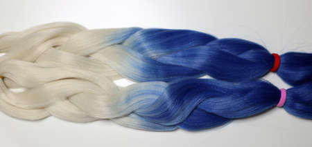 kanecalon, hair artificial for braiding braids, colored ribbons Imagens