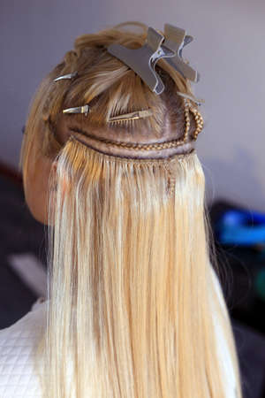 hair extensions, truss sewing, Hollywood build-up with pigtail
