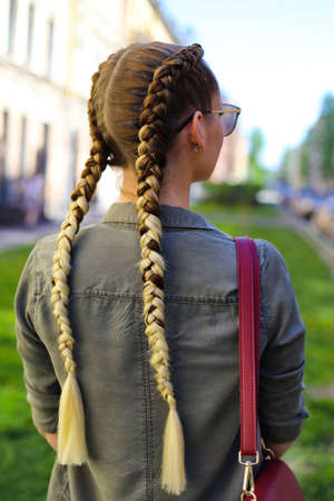 hairstyle for a girl of two braid with an intimate kanekalon