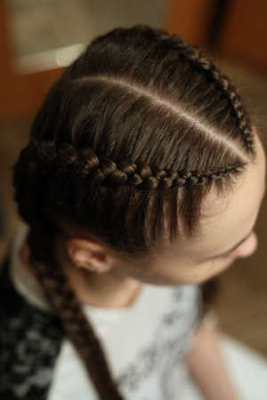 two braids fashionable youth hairstyle with a kanekalon of natur Archivio Fotografico