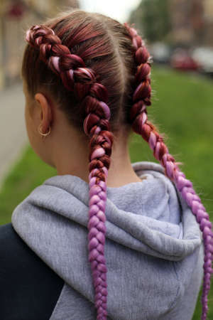 Two braids against the backdrop of the city, a hairstyle from th