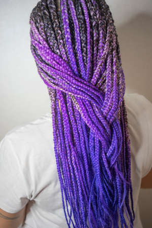 thick braids african boxing style purple hair, a lot of thin braids