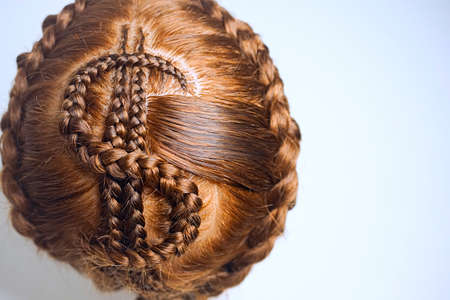 dollar pigtails, pigtails braided in the form of a dollar sign, original hairstyle, hair drawing, texture, close-up, shape