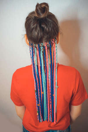 pigtails on the back of the head braided hair African braids, many thin braids