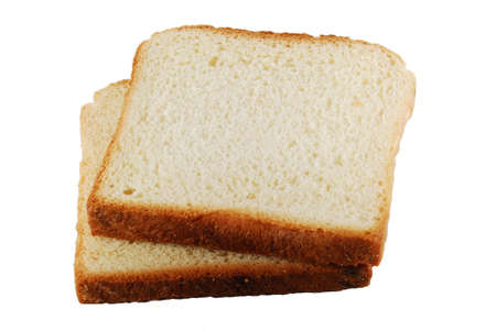 enriched: Two slices of bread isolated Stock Photo
