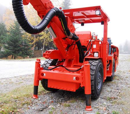 Cockpit of a mine drilling machine photo