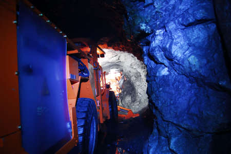 mining gold: mine machinery in a mine