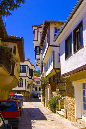 Macedonain traditional architecture found in Ohrid Stock Photo
