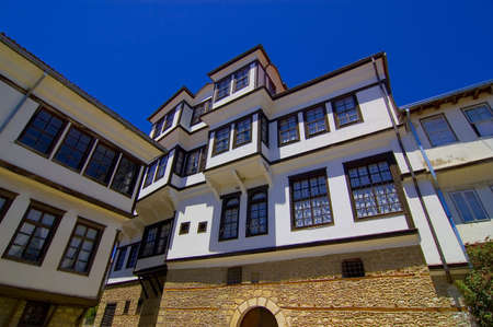 Postcard from Ohrid with the most famous house of Robevci
