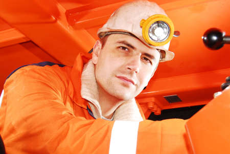 Miner at his workplace portrait stock photo