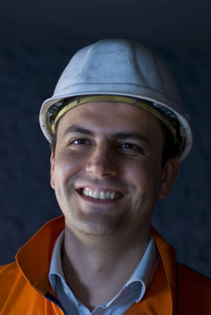 Happy miner portrait stock photo photo