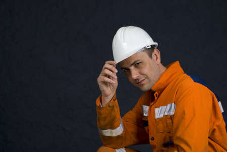 Miner saluting with space for copy stock photo
