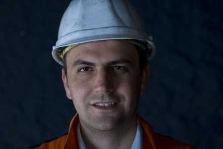 Smiling miner portrait stock photo
