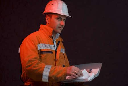 Chief miner checking the progress stock photo
