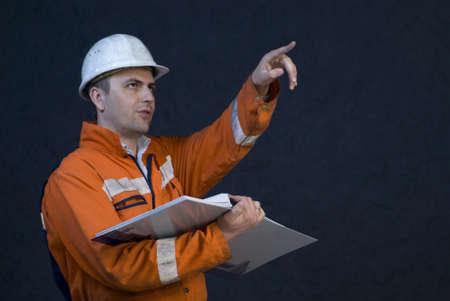 Engineer giving orders stock photo