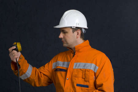 manual test equipment: Miner checking his lamp stock photo Stock Photo