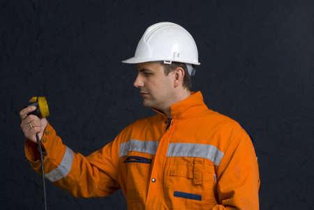 Miner checking his lamp stock photo Stock Photo