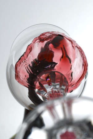 captured: Vine pouring in a glass captured from unusual point of view stock photo