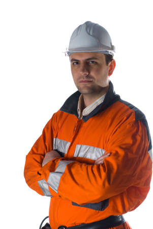 mine: Confident engineer isolated on white background with copy space stock photo Stock Photo