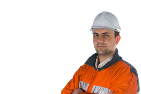 Miner isolated on white background with copy space stock photo