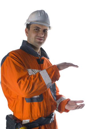 Product photography, worker holding your product stock photo Standard-Bild