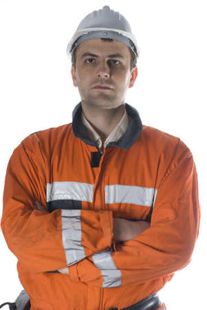 Serious worker portrait isolated on white stock photo