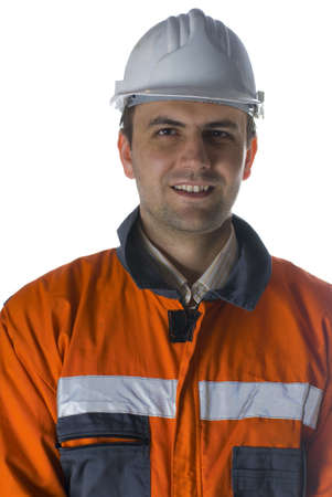 Smiling worker isolated on white portrait stock photo