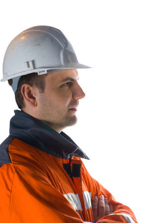 Profile of a miner isolated on white stock photo photo