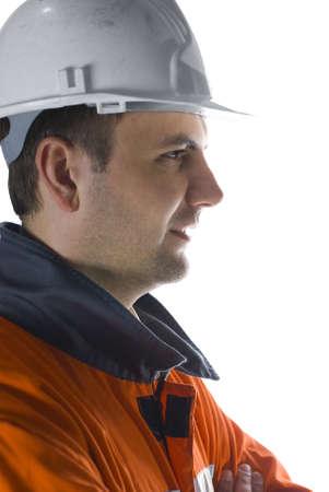Miner profile isolated on white stock photo