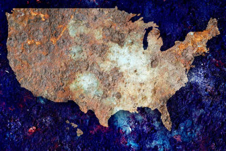 iron oxide: Concept of rusting US map as a ecological warning sign Stock Photo