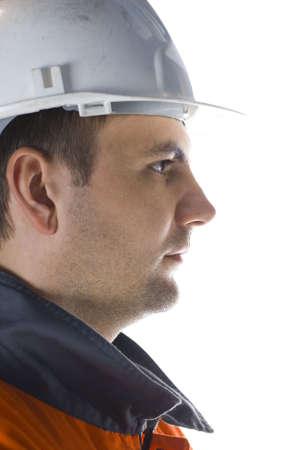 Confident miner profile isolated on white potrait stock photo photo