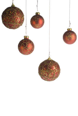 Red Christmas balls isolated over white background Stock Photo