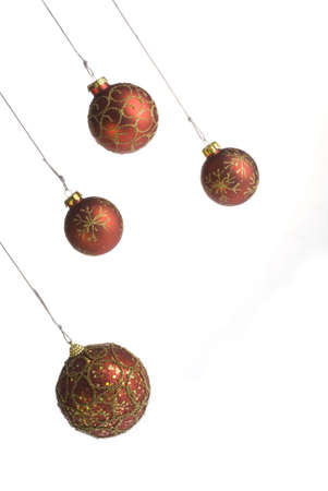 Red Christmas balls on white background Stock Photo - 6111893