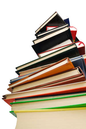Books pile isolated over white background