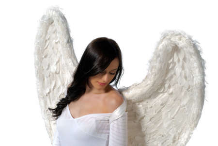 Young woman with angel wings isolated on white